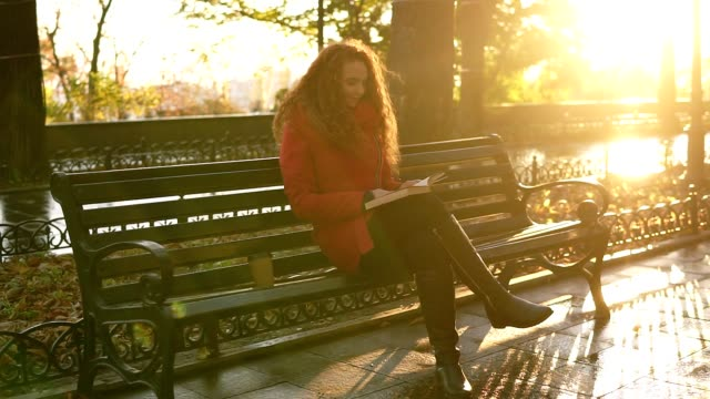 vídeos y material grabado en eventos de stock de tarde de otoño soleado día en el parque, mujer joven está leyendo un libro, chica está sentado en el banco del parque con su bolso, otoño hojas coloridas que cubren la acera, relajarse en el parque de la ciudad. resumen - moda de otoño