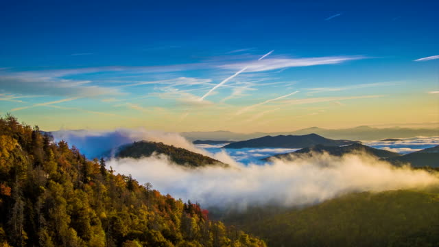 autumn sunrise over the blue ridge mountains with moving clouds - trees in mist stock videos & royalty-free footage