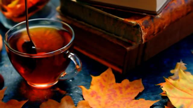 autumn tea and books - bevanda calda video stock e b–roll