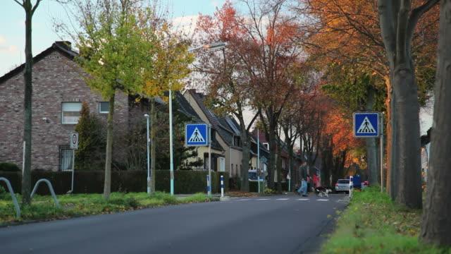 vidéos et rushes de grue (montant) village en automne - inclinaison vers le haut