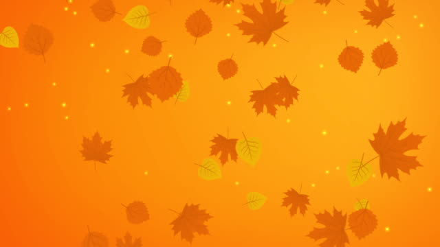 Autumn yellow background with falling leaves video