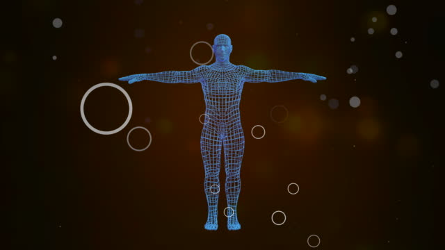 3D Avatar showing holographic projection of man body rotating in seamless loop.