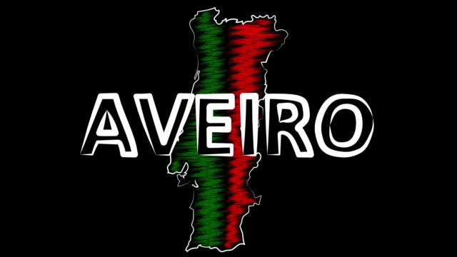 vídeos de stock e filmes b-roll de aveiro portugal coloring the map and flag. motion design. - aveiro