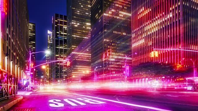 6 avenue. New York. Night. Financial building