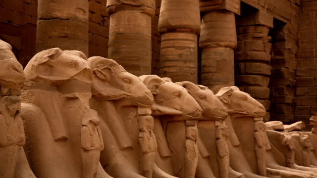 Avenue of Ram Headed Sphinxes from Karnak Temple, Luxor Egypt video