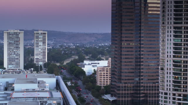 Avenue of the Stars in Century City, Los Angeles at Dusk - Drone Shot video
