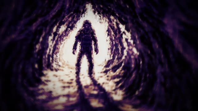 Сaver stands at entrance to cave. Сaver stands at entrance to cave. Slow motion animation. Genre of fantasy. Lilac and orange background colors. archaeology stock videos & royalty-free footage