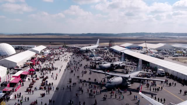 Aviation Festival Field With Crowd and Old Military Aircrafts 2 video