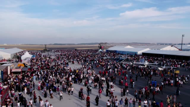 Aviation Festival Field With Crowd and Old Military Aircrafts 3 video