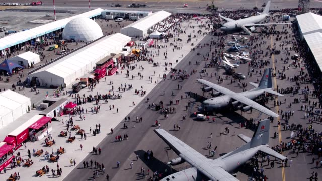 Aviation Festival Field With Crowd and Old Military Aircrafts 4 video