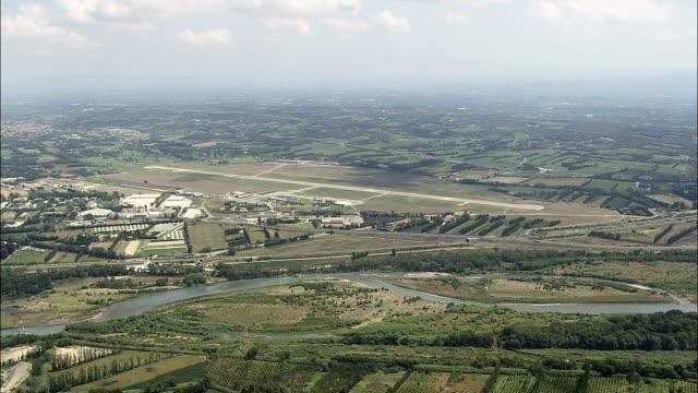 Avignon Airport approach - Aerial View - Provence-Alpes-Côte d'Azur,  Vaucluse,  Arrondissement d'Avignon helicopter filming,  aerial video,  cineflex,  establishing shot,  France video