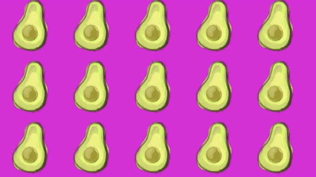 avocado pattern, ideal footage for themes such as cooking, healthy life, diets and well-being - icon set healthy video stock e b–roll