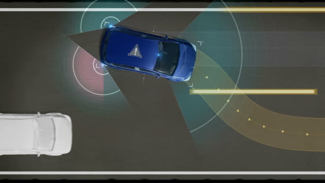 Avoiding collisions, Lane departure prevention, Autonomous vehicle, Automatic driving technology. Unmanned car, IOT connect car. - Vidéo