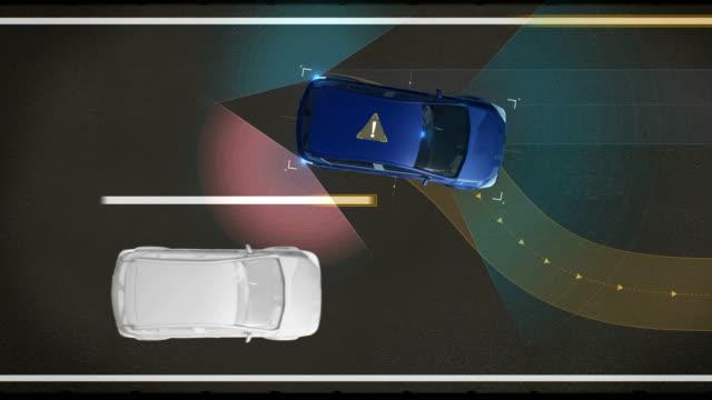 衝突、レーンデパーチャープリベンション、自律走行車、自動運転技術を回避します。平面図です。無人の車、iot は、車を接続します。4 k サイズの映画。 - 自動運転車点の映像素材/bロール