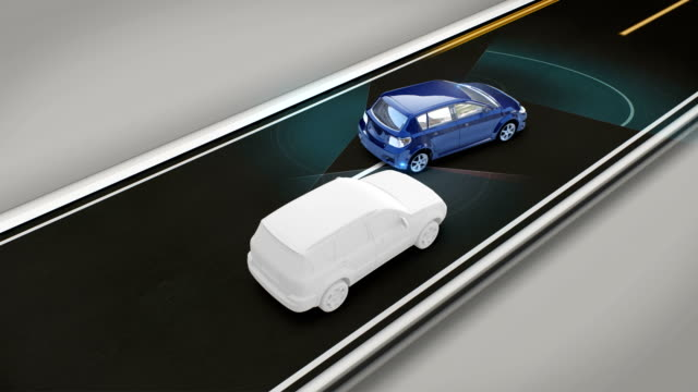 衝突、レーンデパーチャープリベンション、自律走行車、自動運転技術を回避します。無人の車、IOT は、車を接続します。4 k 映画。 ビデオ