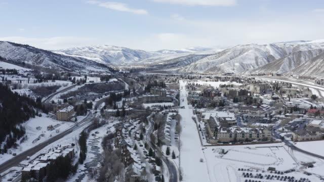 Avon Beaver Creek Colorado Aerial Flyover Winter Mountain Day
