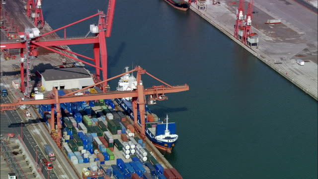 Avonmouth Container Port - Aerial View - England, Bristol, United Kingdom video