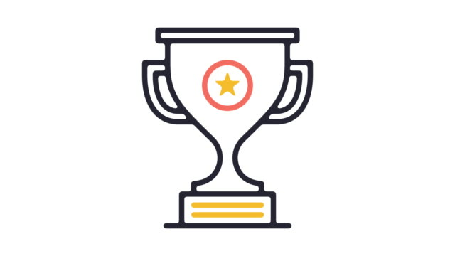 Award Ceremony Line Icon Animation Motion graphic line animation of official prize icon on white background. incentive stock videos & royalty-free footage