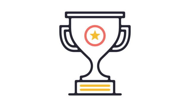 stockvideo's en b-roll-footage met award ceremonie lijn pictogram animatie - prijs onderscheiding