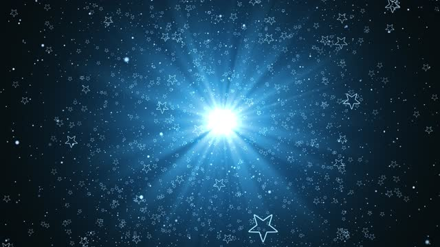 Award lights Animation with Blue shine light and Blue particle glittering flowing looped,