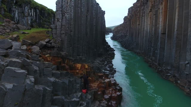 Awesome basalt Studlagil Canyon in Iceland. Aerial view video