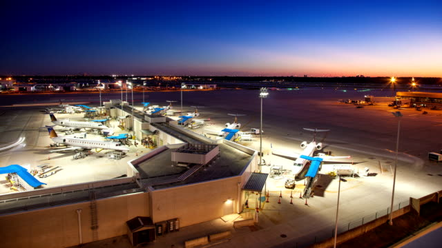 Awesome Masked Sunset Timelapse at Houston Bush Airport video
