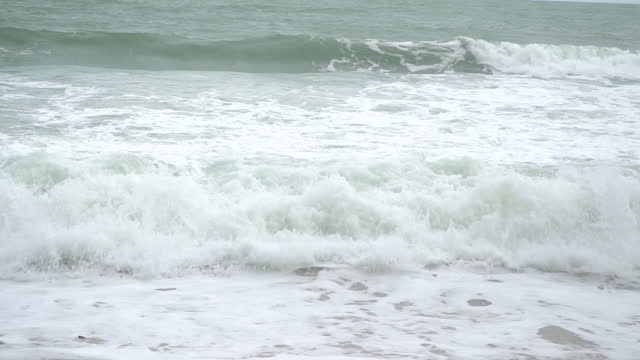 Awesome power of waves breaking over dangerous slow motion.