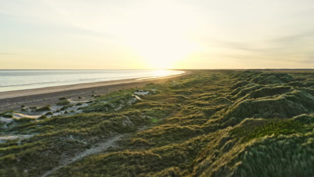 Awesome Sunrise Shot Along Slettestrand Beach in Jutland, Denmark Backward tracking shot of the sea shore, with the sand nearby the coast and land filled with lush green grass in the foreground denmark stock videos & royalty-free footage