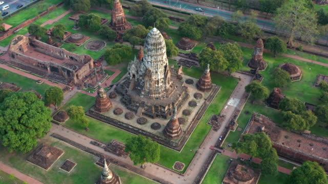 Ayutthaya Historical Park, Phra Nakhon Si Ayutthaya, Ayutthaya, Thailand, view from above. Ayutthaya Historical Park, Phra Nakhon Si Ayutthaya, Ayutthaya, Thailand, view from above. sukhothai stock videos & royalty-free footage