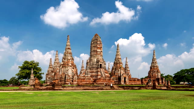 parco storico ayutthaya, in tailandia - wat video stock e b–roll