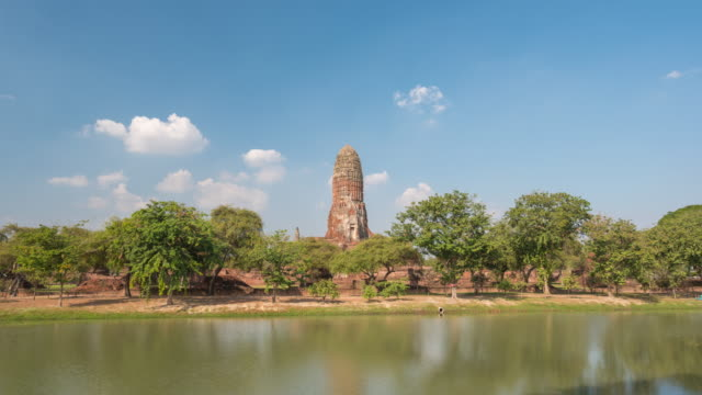 ayutthaya thailand time lapse 4k, ayutthaya historical park timelapse at wat phra ram temple - wat video stock e b–roll