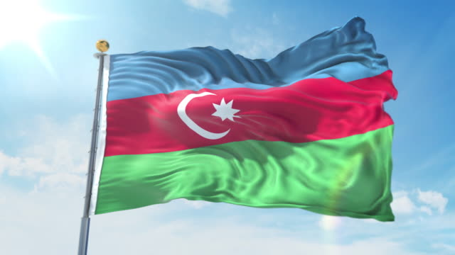 Azerbaijan flag waving in the wind against deep blue sky. National theme, international concept. 3D Render Seamless Loop 4K Azerbaijan flag waving in the wind against deep blue sky. National theme, international concept. 3D Render Seamless Loop 4K allegory painting stock videos & royalty-free footage