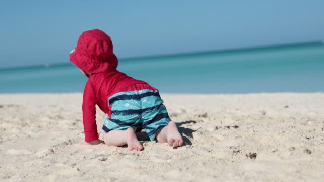 Baby Boy Crawling on Tropical Beach, Cayo Coco, Cuba video