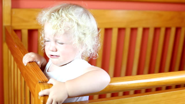 Baby boy crying in crib video