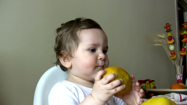 Baby boy eating video