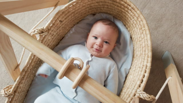 baby boy in a basket - soltanto neonati video stock e b–roll