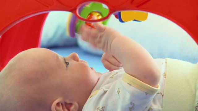 cu baby boy (2-5 months) playing with toy / vrhnika, slovenia - soltanto neonati video stock e b–roll