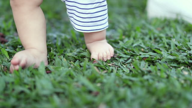 Baby child feet, foot, toes, feeling the grass outside