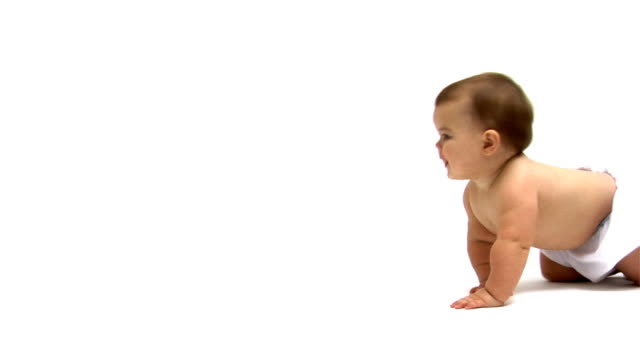 Baby crawling across white background video