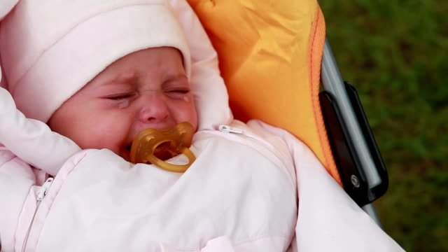 Baby crying in the pram video