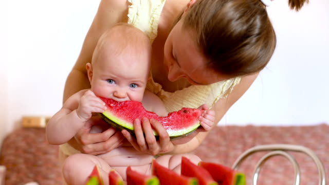 baby eating watermelon video