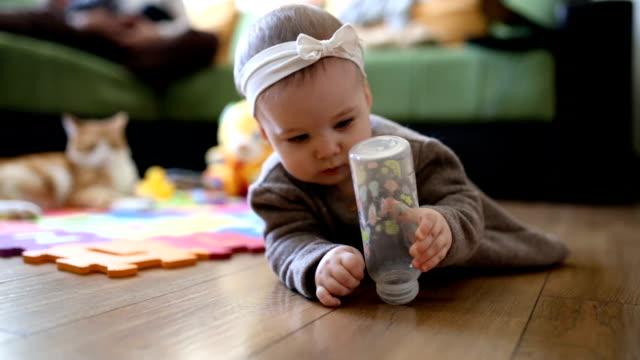 vídeos de stock e filmes b-roll de baby girl crawling in living room - super baby