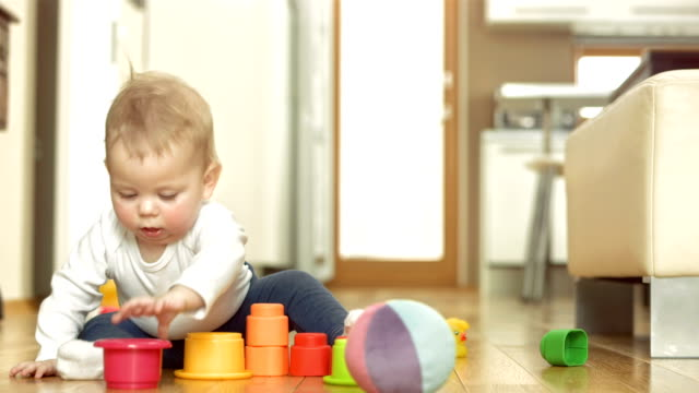 Baby Girl Exploring Block Toys video