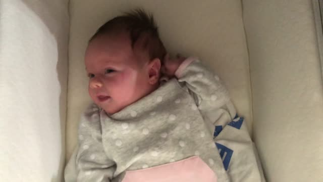 Baby girl inside her bassinet video