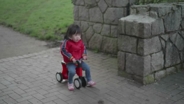 baby girl play bicycle at outdoor park video