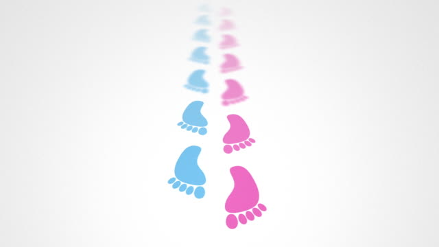 baby girls and boys footstep video