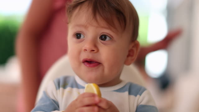 baby infant trying lemon fruit - gusto aspro video stock e b–roll