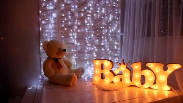 Baby room with big teddy bear video
