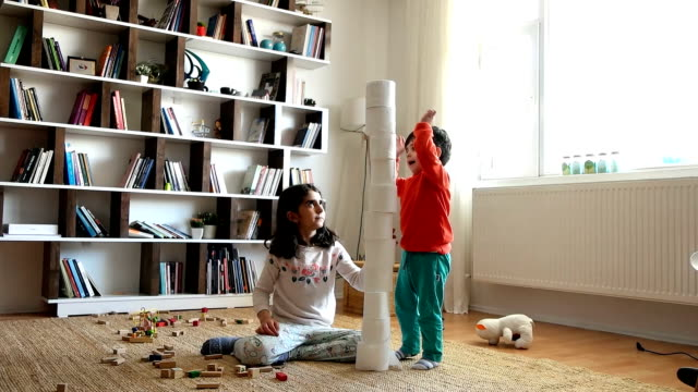 トイレットペーパーの赤ちゃん - 兄弟姉妹点の映像素材/bロール