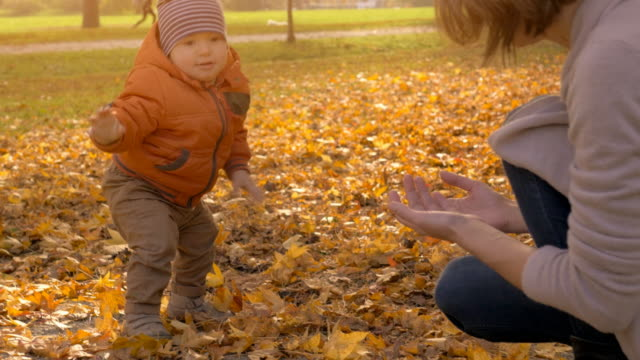 baby's first steps besides his mother in the fall - forest bathing video stock e b–roll